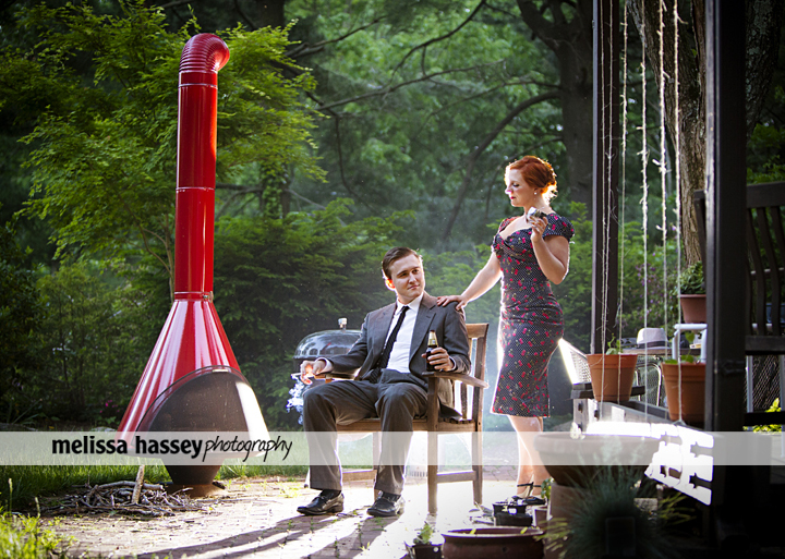 Mad Men Inspired Engagement Portraits