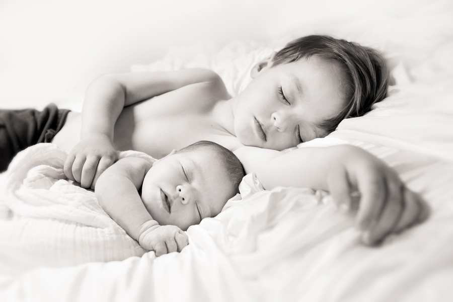 sleeping baby & toddler